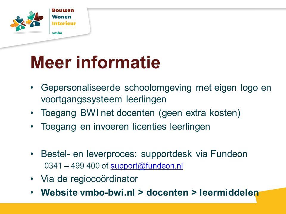 Meer informatie Gepersonaliseerde schoolomgeving met eigen logo en voortgangssysteem leerlingen Toegang BWI net docenten (geen extra kosten) Toegang e
