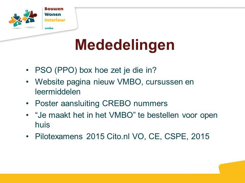 """Mededelingen PSO (PPO) box hoe zet je die in? Website pagina nieuw VMBO, cursussen en leermiddelen Poster aansluiting CREBO nummers """"Je maakt het in h"""