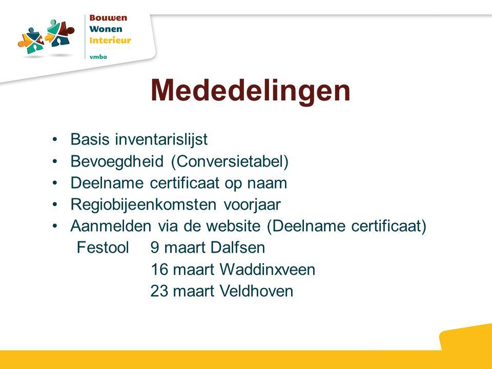 Mededelingen Basis inventarislijst Bevoegdheid (Conversietabel) Deelname certificaat op naam Regiobijeenkomsten voorjaar Aanmelden via de website (Dee