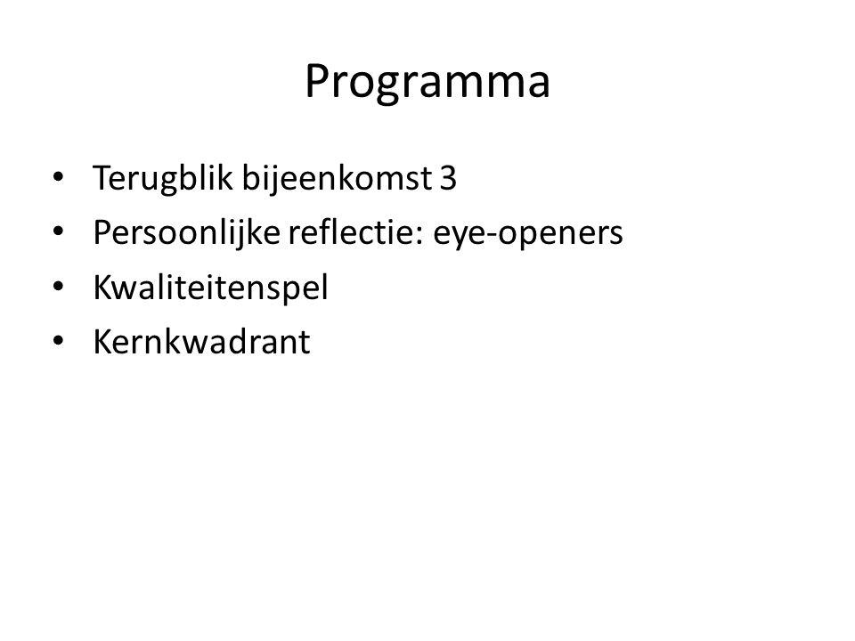Eye-opener We bespreken 2 eye-openers Kernvragen bij eye-openers:* Wat is je het meest bijgebleven.