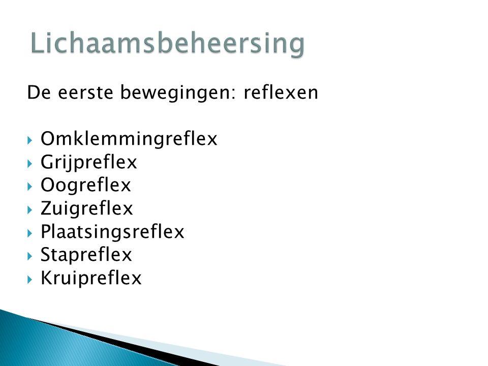 De eerste bewegingen: reflexen  Omklemmingreflex  Grijpreflex  Oogreflex  Zuigreflex  Plaatsingsreflex  Stapreflex  Kruipreflex