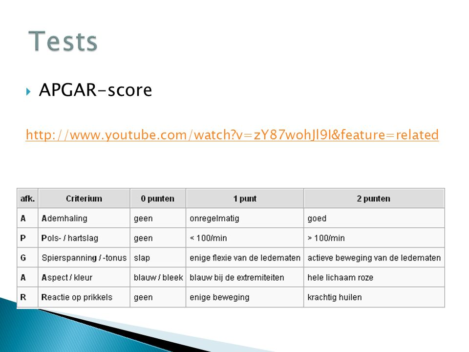  APGAR-score http://www.youtube.com/watch?v=zY87wohJl9I&feature=related