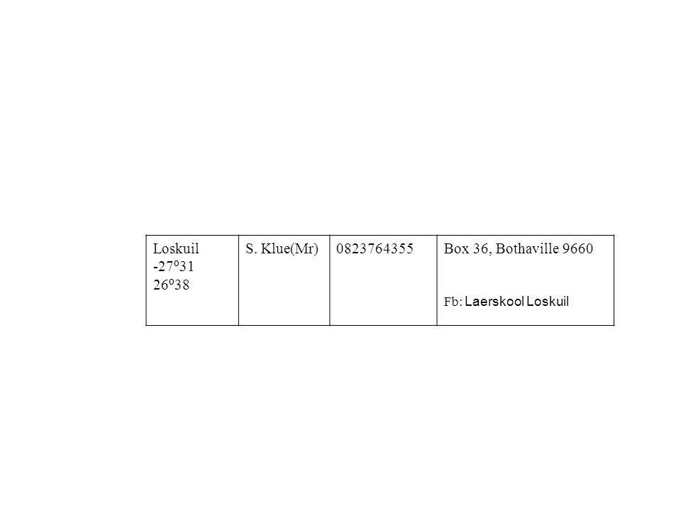 Loskuil -27 º 31 26 º 38 S. Klue(Mr)0823764355Box 36, Bothaville 9660 Fb: Laerskool Loskuil