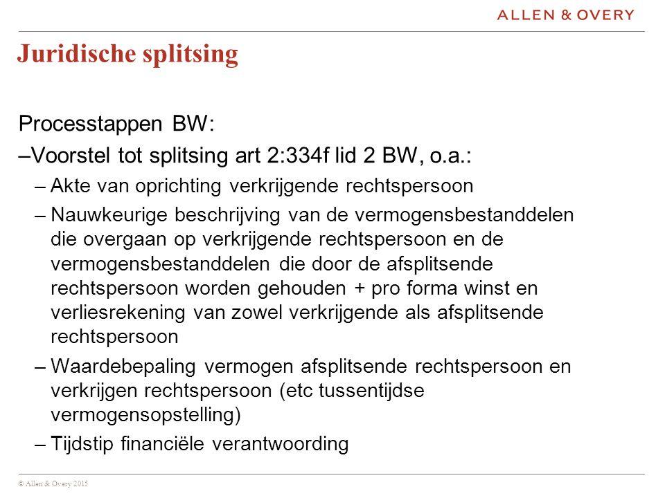 © Allen & Overy 2015 Praktische implicaties –Verhouding BW – Ww (goedkeuringsvereisten Ww  nietige of vernietigbare besluiten) –Faillissement bij administratieve scheiding –Erfpacht –Overgang van onderneming (art.