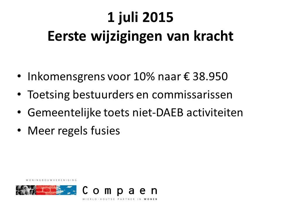 1 juli 2015 Eerste wijzigingen van kracht Inkomensgrens voor 10% naar € 38.950 Toetsing bestuurders en commissarissen Gemeentelijke toets niet-DAEB ac