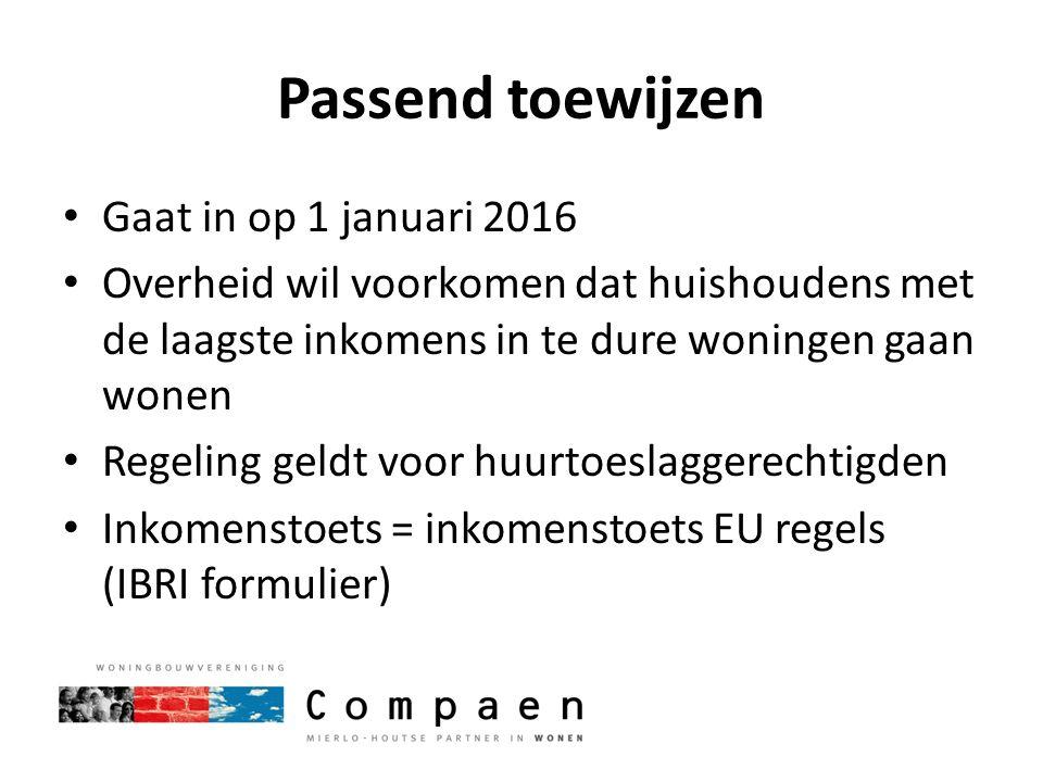 Passend toewijzen Gaat in op 1 januari 2016 Overheid wil voorkomen dat huishoudens met de laagste inkomens in te dure woningen gaan wonen Regeling gel
