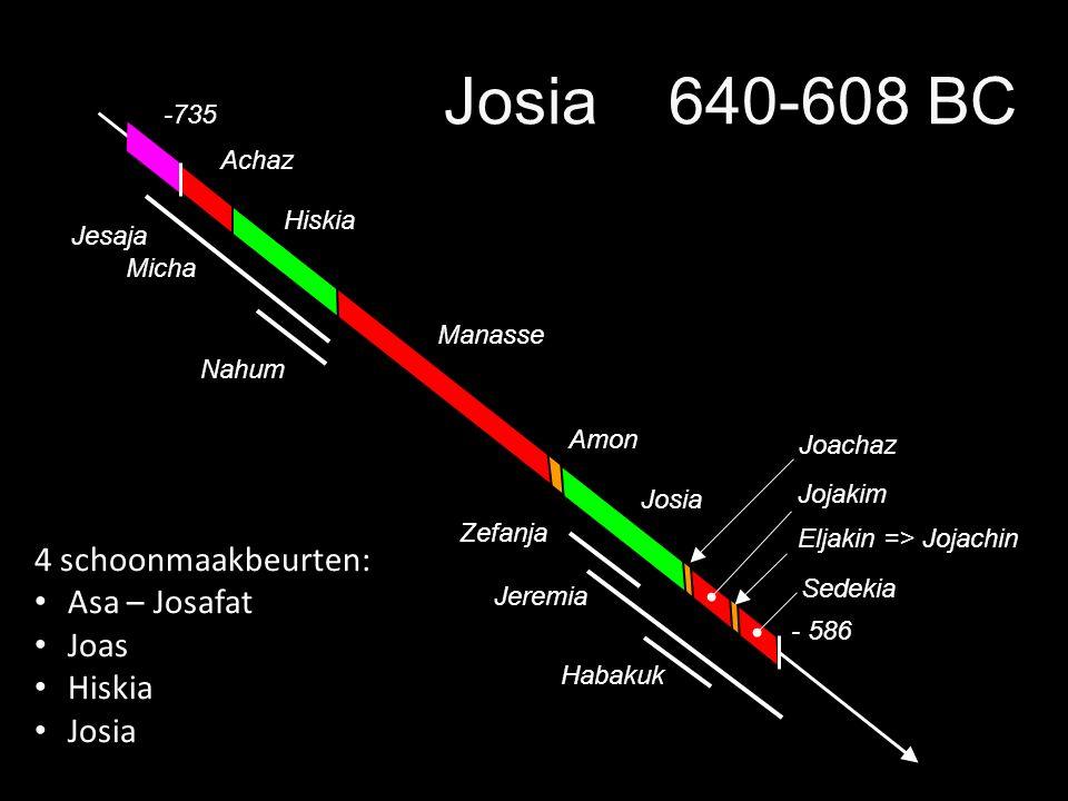 Achaz -735 Jeremia Josia Manasse Hiskia Amon - 586 Sedekia JojakimJoachaz Eljakin => Jojachin Josia 640-608 BC Zefanja Nahum Micha Jesaja Habakuk 4 sc