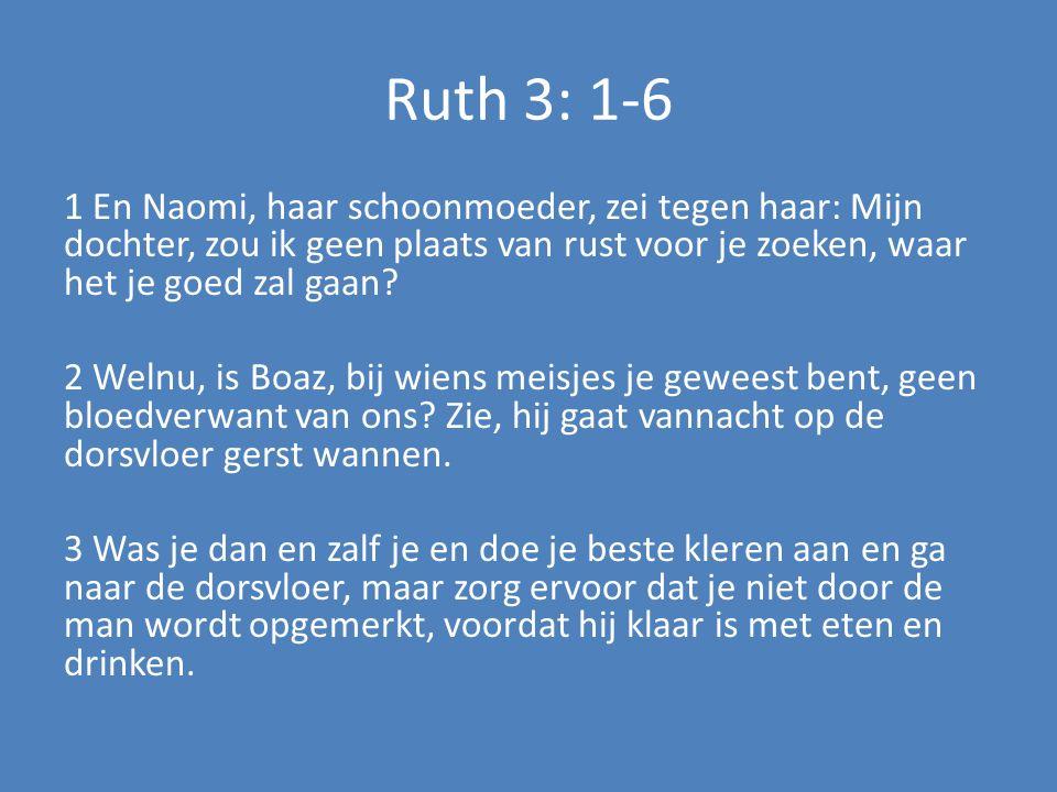 Ruth 3: 1-6 1 En Naomi, haar schoonmoeder, zei tegen haar: Mijn dochter, zou ik geen plaats van rust voor je zoeken, waar het je goed zal gaan? 2 Weln