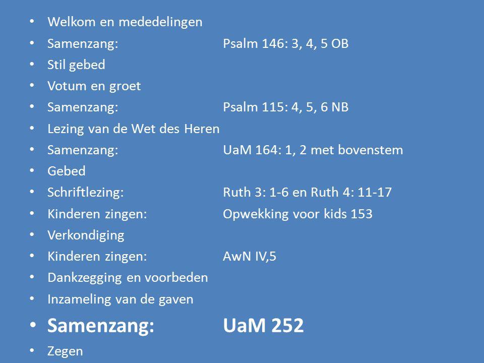 Welkom en mededelingen Samenzang:Psalm 146: 3, 4, 5 OB Stil gebed Votum en groet Samenzang:Psalm 115: 4, 5, 6 NB Lezing van de Wet des Heren Samenzang