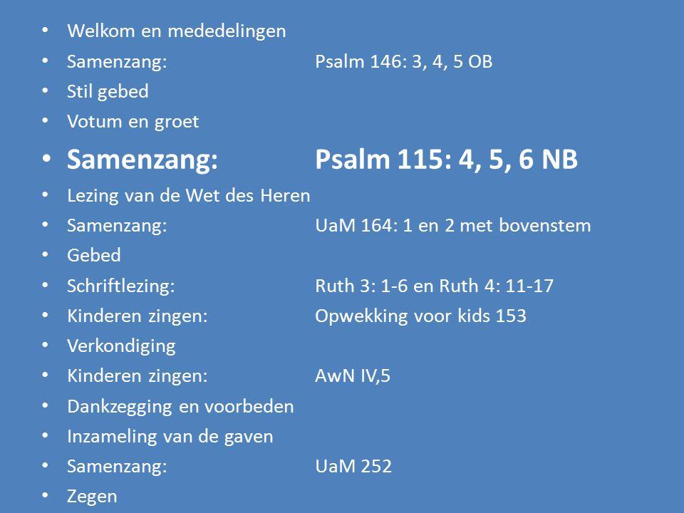 Welkom en mededelingen Samenzang:Psalm 146: 3, 4, 5 OB Stil gebed Votum en groet Samenzang:Psalm 115: 4, 5, 6 NB Lezing van de Wet des Heren Samenzang: UaM 164: 1, 2 met bovenstem Gebed Schriftlezing: Ruth 3: 1-6 en Ruth 4: 11-17 Kinderen zingen:Opwekking voor kids 153 Verkondiging Kinderen zingen: AwN IV,5 Dankzegging en voorbeden Inzameling van de gaven Samenzang: UaM 252 Zegen