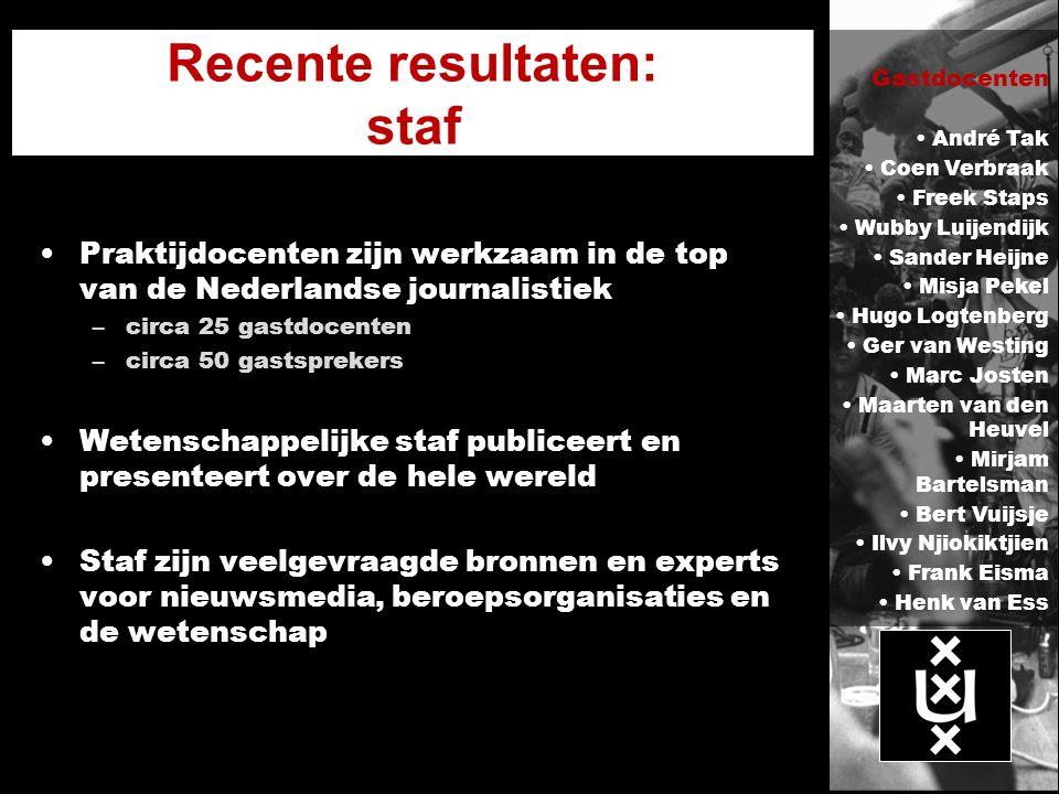 Recente resultaten: staf Praktijdocenten zijn werkzaam in de top van de Nederlandse journalistiek –circa 25 gastdocenten –circa 50 gastsprekers Wetens
