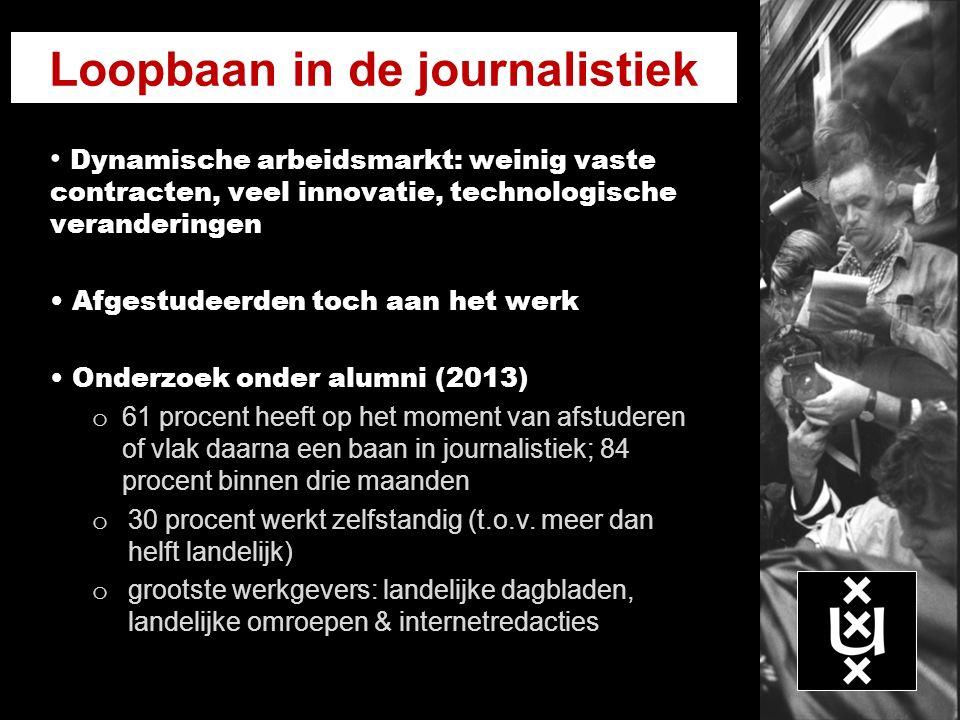 Loopbaan in de journalistiek Dynamische arbeidsmarkt: weinig vaste contracten, veel innovatie, technologische veranderingen Afgestudeerden toch aan he