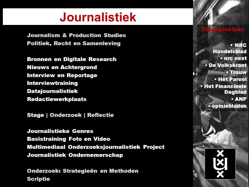 Journalistiek Journalism & Production Studies Politiek, Recht en Samenleving Bronnen en Digitale Research Nieuws en Achtergrond Interview en Reportage