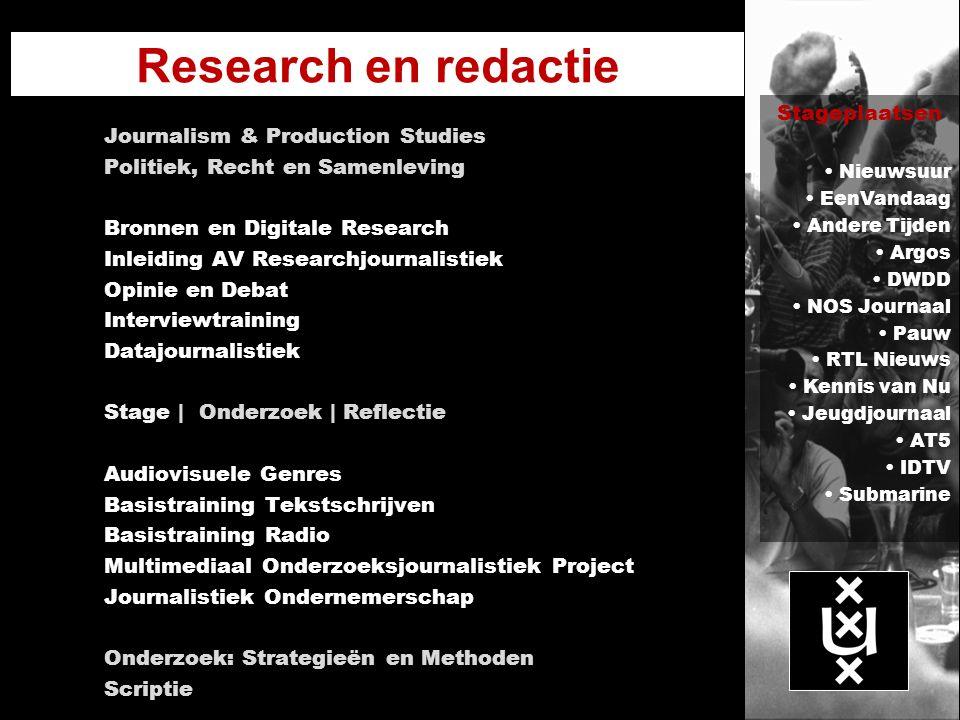 Research en redactie Journalism & Production Studies Politiek, Recht en Samenleving Bronnen en Digitale Research Inleiding AV Researchjournalistiek Op