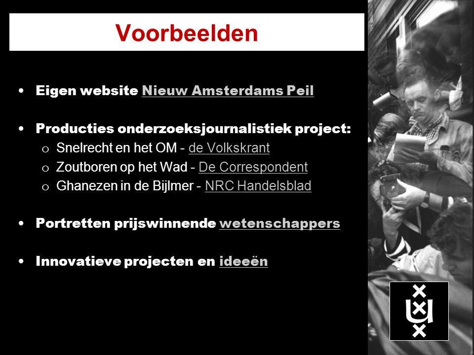 Voorbeelden Eigen website Nieuw Amsterdams PeilNieuw Amsterdams Peil Producties onderzoeksjournalistiek project: o Snelrecht en het OM - de Volkskrant