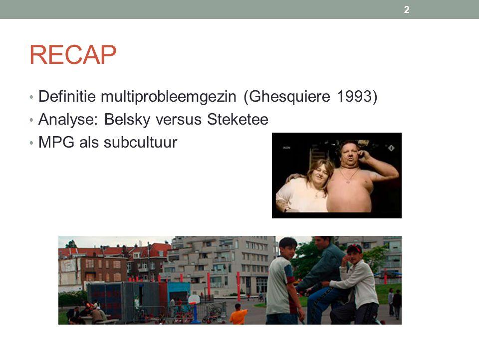 RECAP Definitie multiprobleemgezin (Ghesquiere 1993) Analyse: Belsky versus Steketee MPG als subcultuur 2