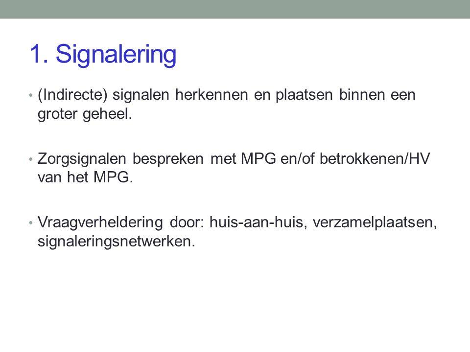 1. Signalering (Indirecte) signalen herkennen en plaatsen binnen een groter geheel.