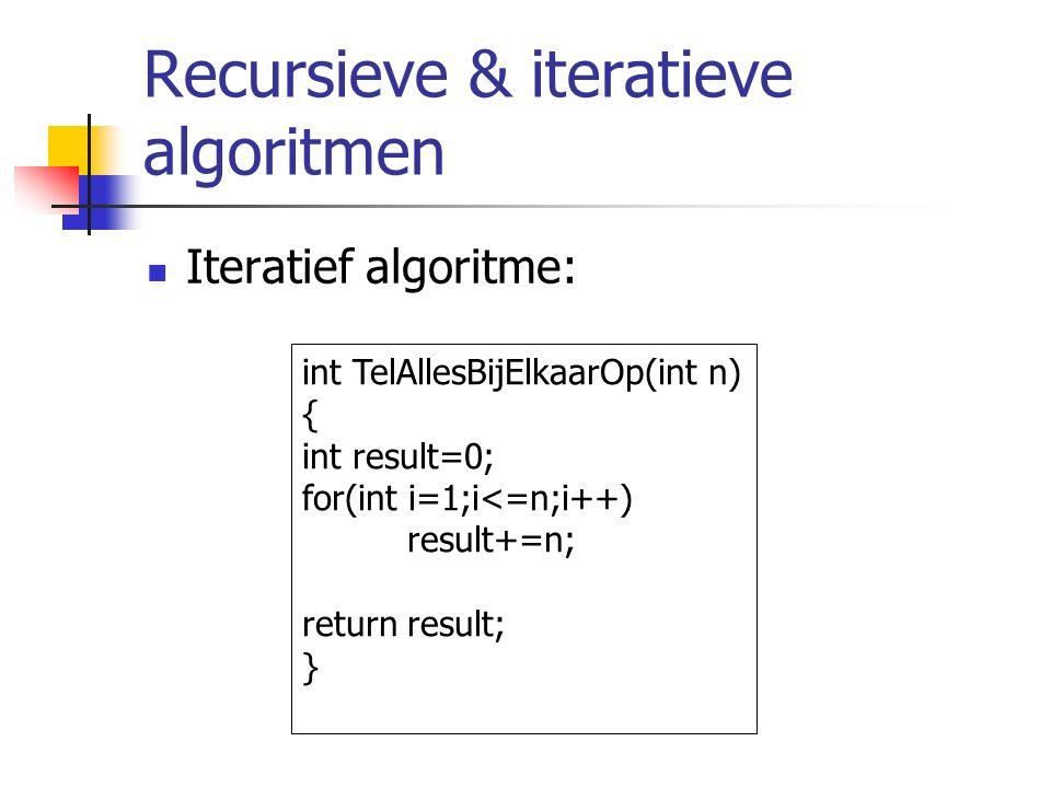 Recursieve & iteratieve algoritmen Iteratief algoritme: int TelAllesBijElkaarOp(int n) { int result=0; for(int i=1;i<=n;i++) result+=n; return result; }