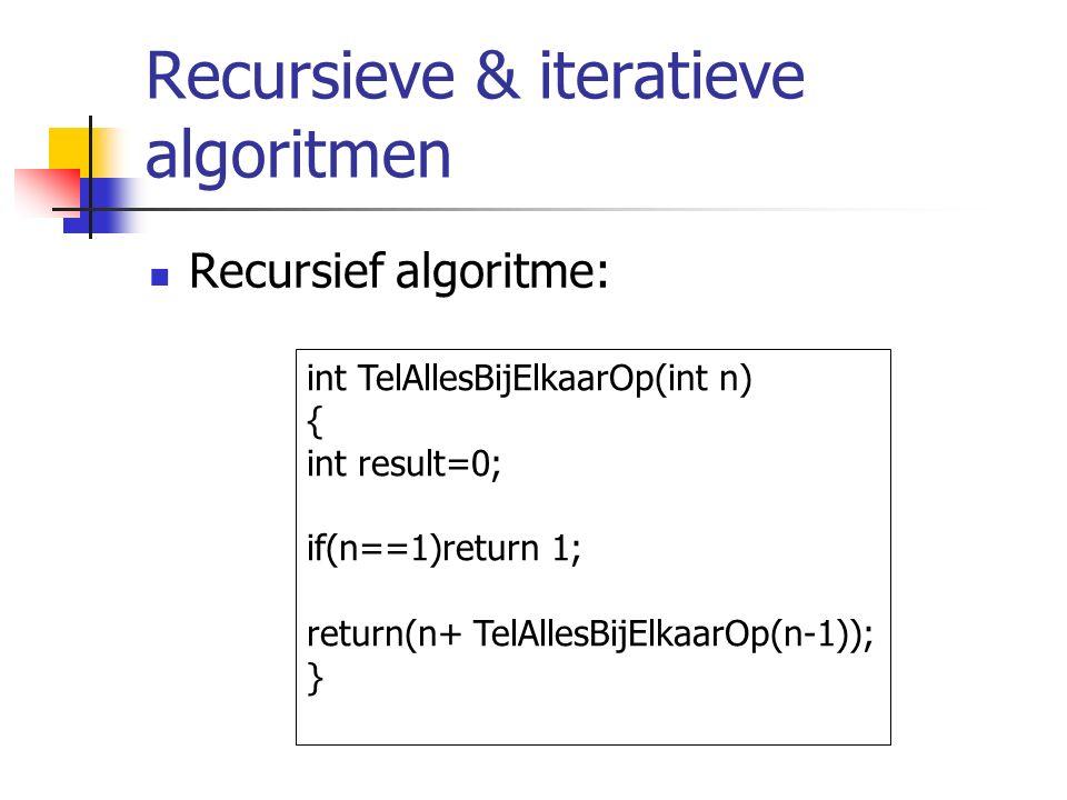 Recursieve & iteratieve algoritmen Recursief algoritme: int TelAllesBijElkaarOp(int n) { int result=0; if(n==1)return 1; return(n+ TelAllesBijElkaarOp(n-1)); }