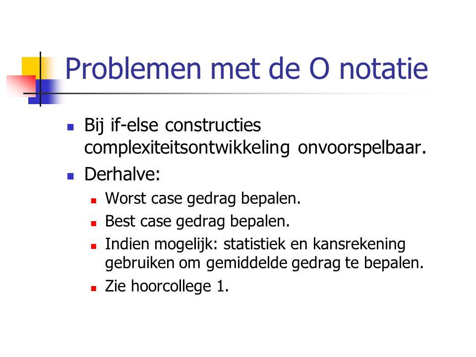 Problemen met de O notatie Bij if-else constructies complexiteitsontwikkeling onvoorspelbaar. Derhalve: Worst case gedrag bepalen. Best case gedrag be