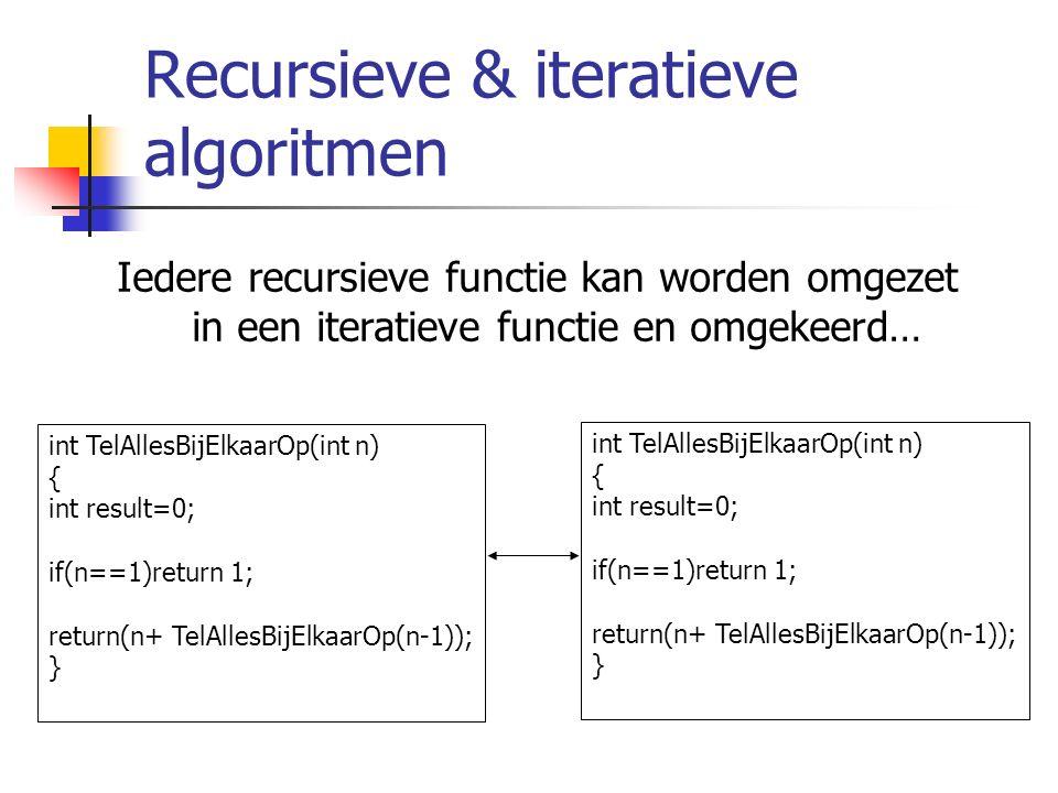 Recursieve & iteratieve algoritmen Iedere recursieve functie kan worden omgezet in een iteratieve functie en omgekeerd… int TelAllesBijElkaarOp(int n) { int result=0; if(n==1)return 1; return(n+ TelAllesBijElkaarOp(n-1)); } int TelAllesBijElkaarOp(int n) { int result=0; if(n==1)return 1; return(n+ TelAllesBijElkaarOp(n-1)); }