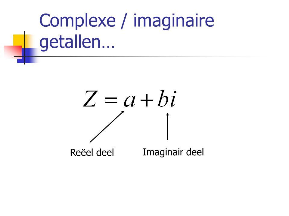 Complexe / imaginaire getallen… Reëel deel Imaginair deel