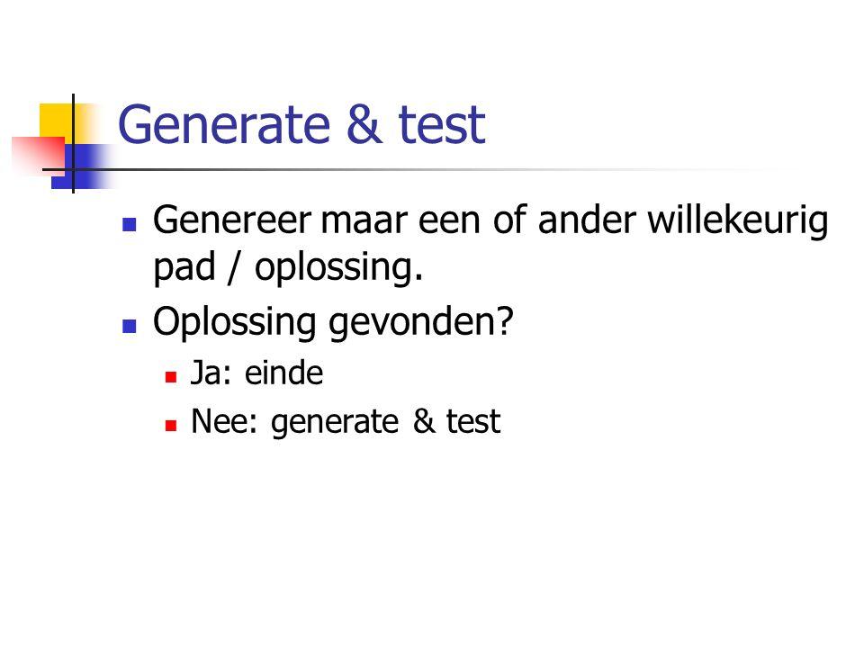 Generate & test Genereer maar een of ander willekeurig pad / oplossing. Oplossing gevonden? Ja: einde Nee: generate & test