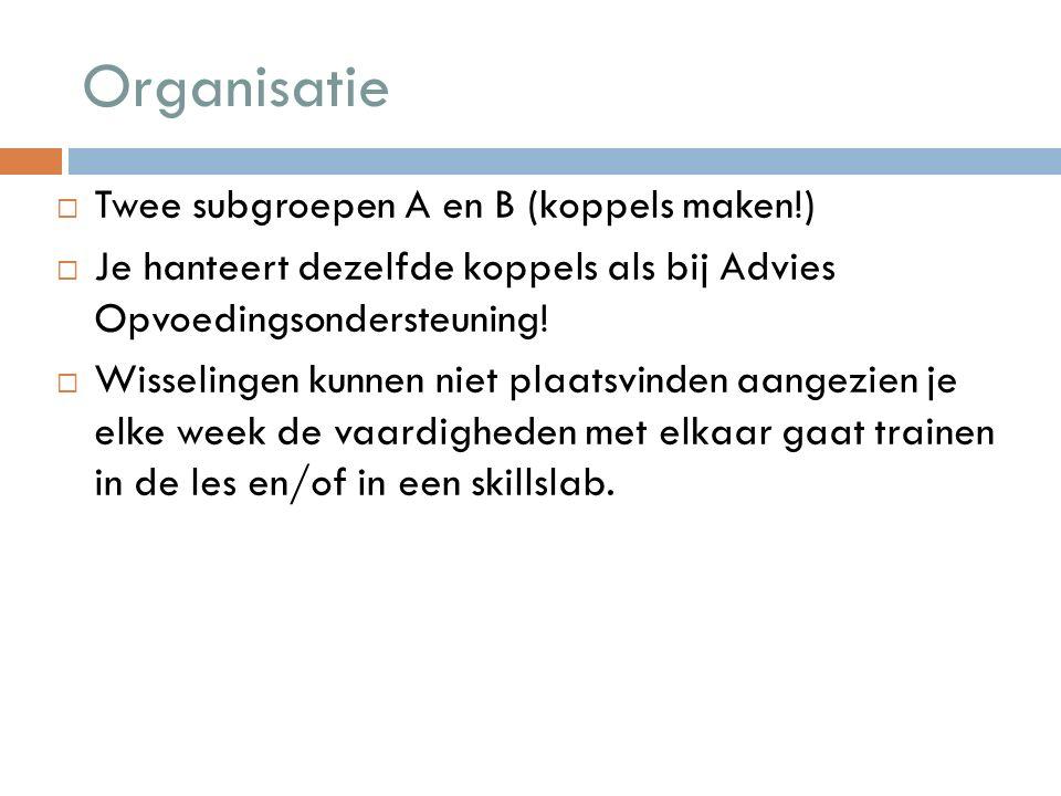 Organisatie  Twee subgroepen A en B (koppels maken!)  Je hanteert dezelfde koppels als bij Advies Opvoedingsondersteuning.