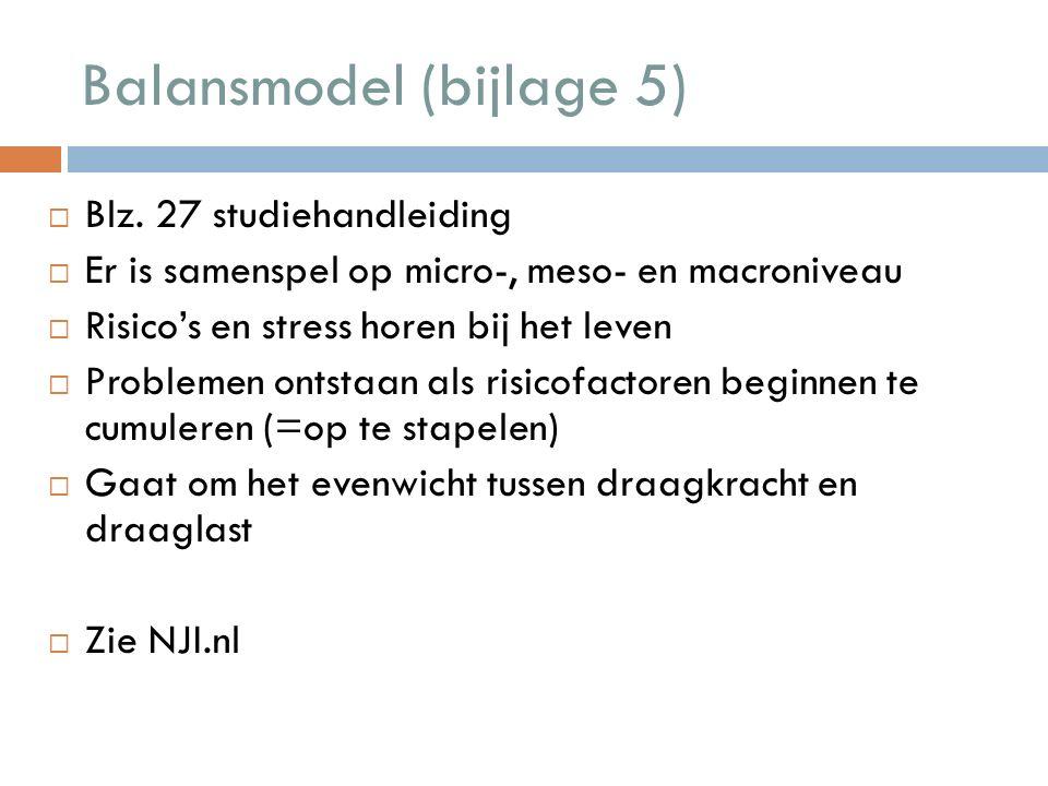 Balansmodel (bijlage 5)  Blz.