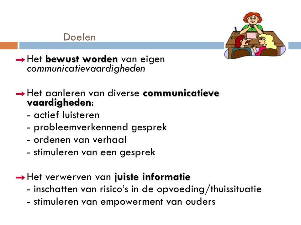 Doelen bewust worden Het bewust worden van eigen communicatievaardigheden communicatieve vaardigheden Het aanleren van diverse communicatieve vaardigheden: - actief luisteren - probleemverkennend gesprek - ordenen van verhaal - stimuleren van een gesprek juiste informatie Het verwerven van juiste informatie - inschatten van risico's in de opvoeding/thuissituatie - stimuleren van empowerment van ouders