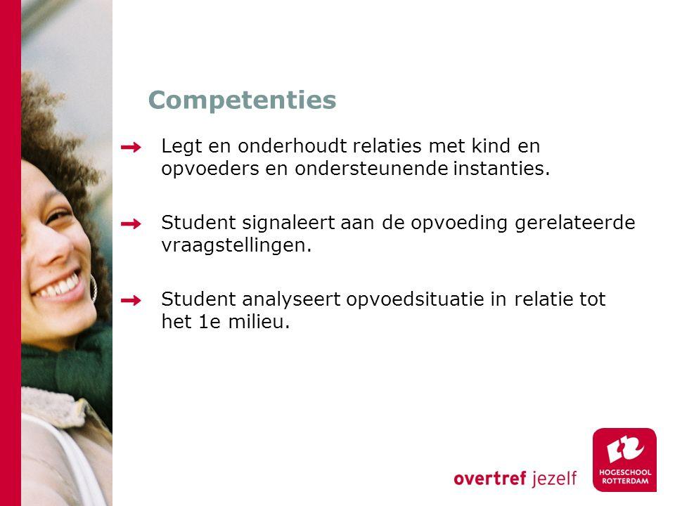 Competenties Legt en onderhoudt relaties met kind en opvoeders en ondersteunende instanties. Student signaleert aan de opvoeding gerelateerde vraagste