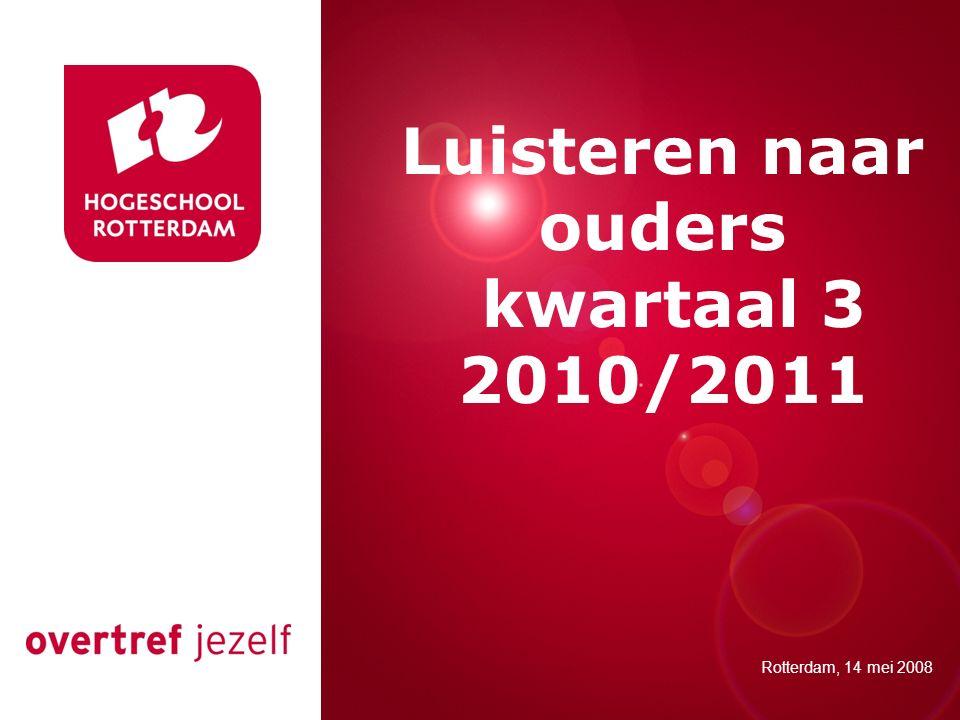Presentatie titel Rotterdam, 00 januari 2007 Luisteren naar ouders kwartaal 3 2010/2011 Rotterdam, 14 mei 2008
