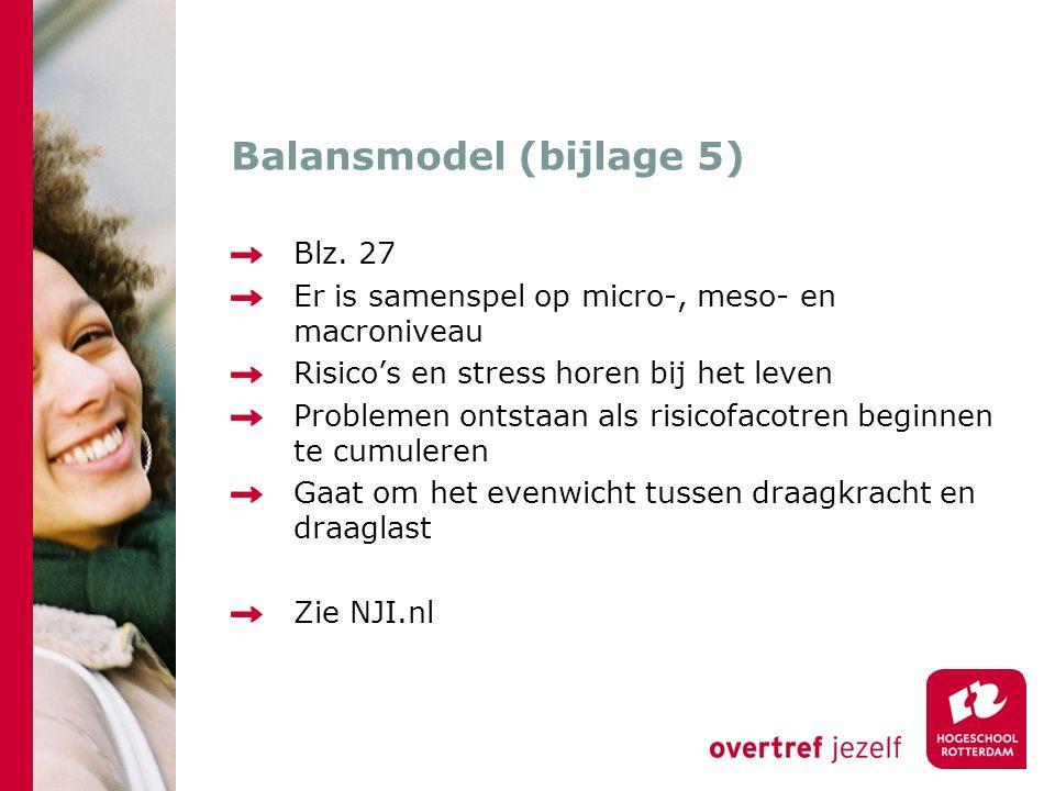 Balansmodel (bijlage 5) Blz. 27 Er is samenspel op micro-, meso- en macroniveau Risico's en stress horen bij het leven Problemen ontstaan als risicofa