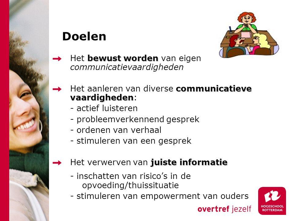 Doelen bewust worden Het bewust worden van eigen communicatievaardigheden communicatieve vaardigheden Het aanleren van diverse communicatieve vaardigh