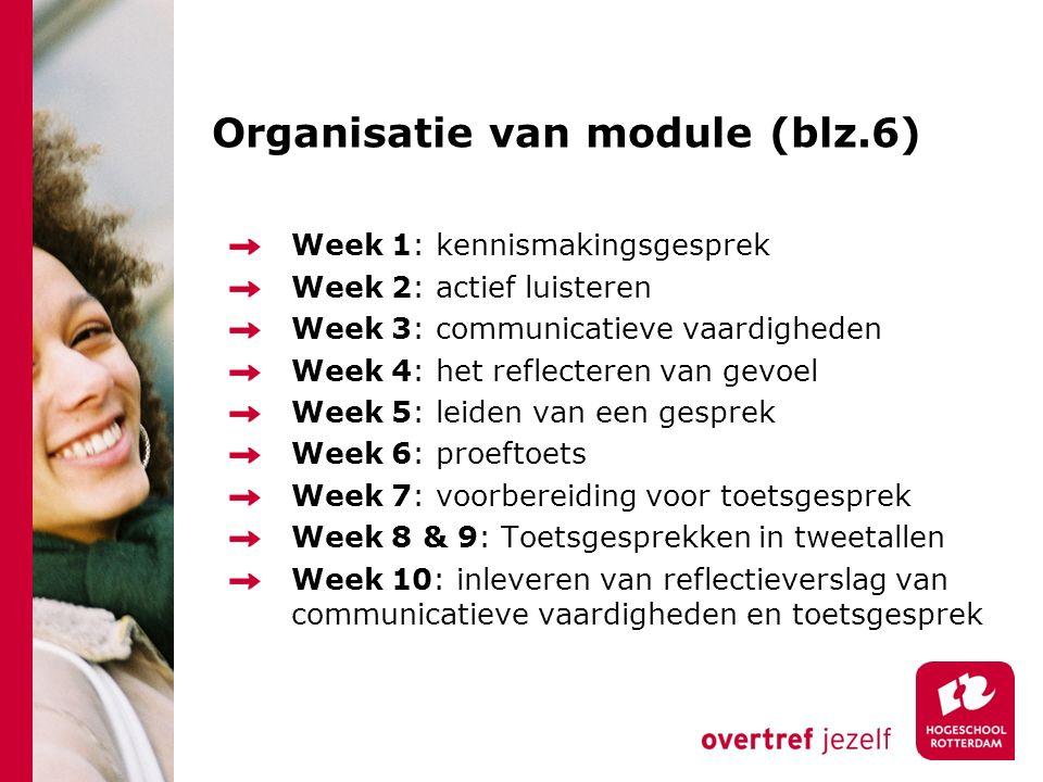 Organisatie van module (blz.6) Week 1: kennismakingsgesprek Week 2: actief luisteren Week 3: communicatieve vaardigheden Week 4: het reflecteren van g