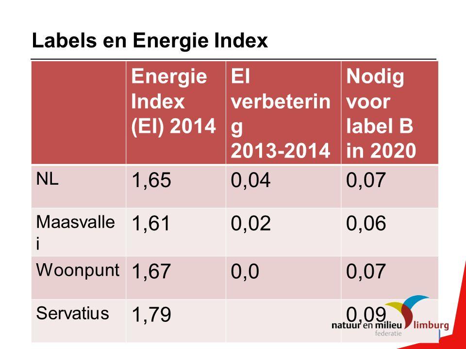 Labels en Energie Index Energie Index (EI) 2014 EI verbeterin g 2013-2014 Nodig voor label B in 2020 NL 1,650,040,07 Maasvalle i 1,610,020,06 Woonpunt 1,670,00,07 Servatius 1,790,09