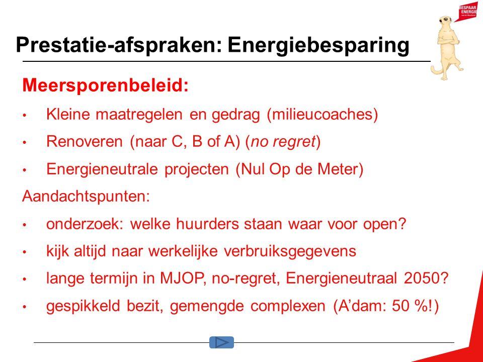 Prestatie-afspraken: Energiebesparing Meersporenbeleid: Kleine maatregelen en gedrag (milieucoaches) Renoveren (naar C, B of A) (no regret) Energieneutrale projecten (Nul Op de Meter) Aandachtspunten: onderzoek: welke huurders staan waar voor open.