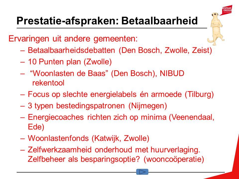 Prestatie-afspraken: Betaalbaarheid Ervaringen uit andere gemeenten: –Betaalbaarheidsdebatten (Den Bosch, Zwolle, Zeist) –10 Punten plan (Zwolle) – Woonlasten de Baas (Den Bosch), NIBUD rekentool –Focus op slechte energielabels én armoede (Tilburg) –3 typen bestedingspatronen (Nijmegen) –Energiecoaches richten zich op minima (Veenendaal, Ede) –Woonlastenfonds (Katwijk, Zwolle) –Zelfwerkzaamheid onderhoud met huurverlaging.