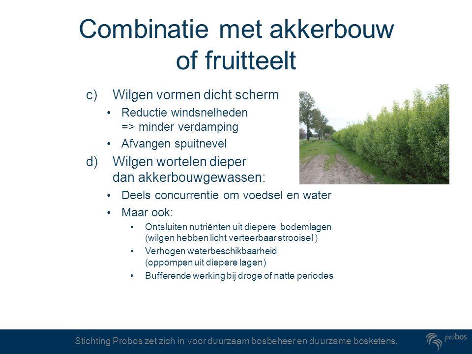 Stichting Probos zet zich in voor duurzaam bosbeheer en duurzame bosketens. Combinatie met akkerbouw of fruitteelt c) Wilgen vormen dicht scherm Reduc