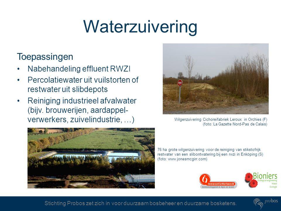 Stichting Probos zet zich in voor duurzaam bosbeheer en duurzame bosketens. Waterzuivering Toepassingen Nabehandeling effluent RWZI Percolatiewater ui
