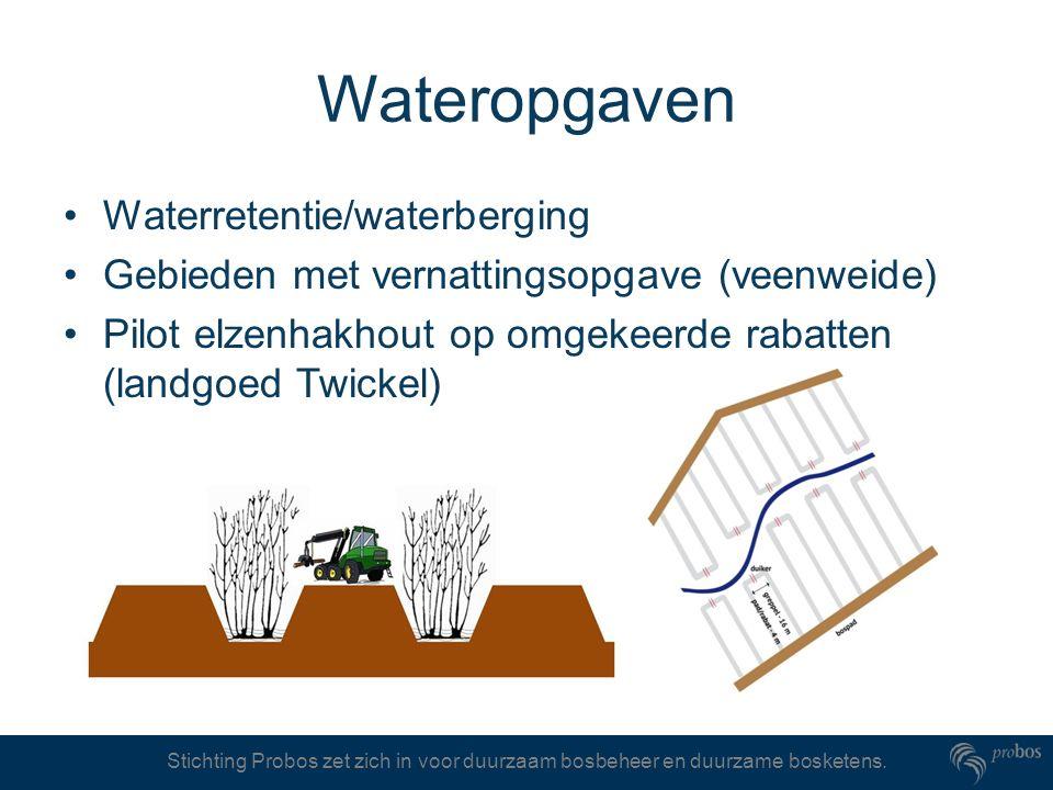 Stichting Probos zet zich in voor duurzaam bosbeheer en duurzame bosketens. Wateropgaven Waterretentie/waterberging Gebieden met vernattingsopgave (ve