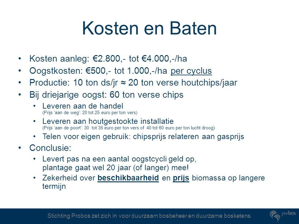Stichting Probos zet zich in voor duurzaam bosbeheer en duurzame bosketens. Kosten en Baten Kosten aanleg: €2.800,- tot €4.000,-/ha Oogstkosten: €500,
