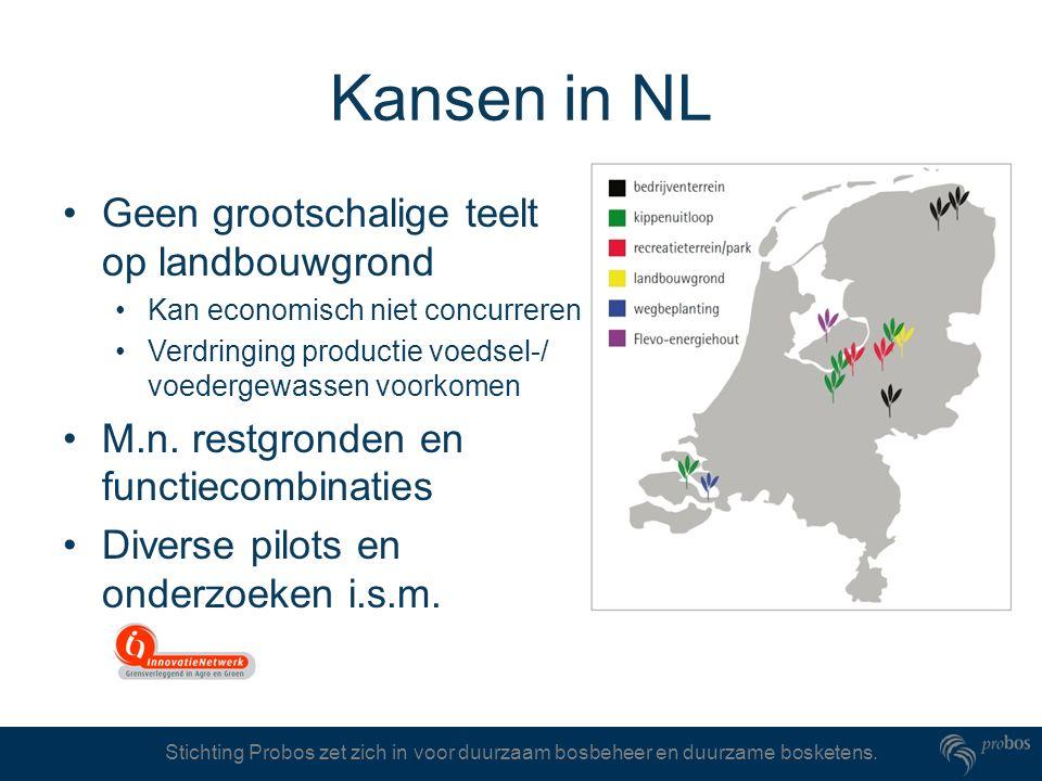 Stichting Probos zet zich in voor duurzaam bosbeheer en duurzame bosketens. Kansen in NL Geen grootschalige teelt op landbouwgrond Kan economisch niet