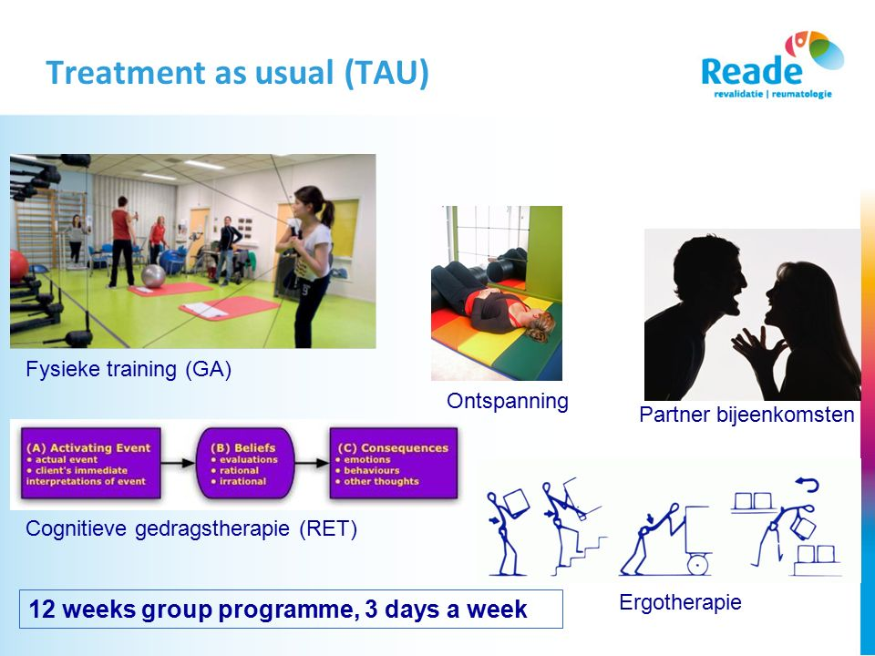 Treatment as usual (TAU) Ontspanning Fysieke training (GA) Cognitieve gedragstherapie (RET) Partner bijeenkomsten Ergotherapie 12 weeks group programm