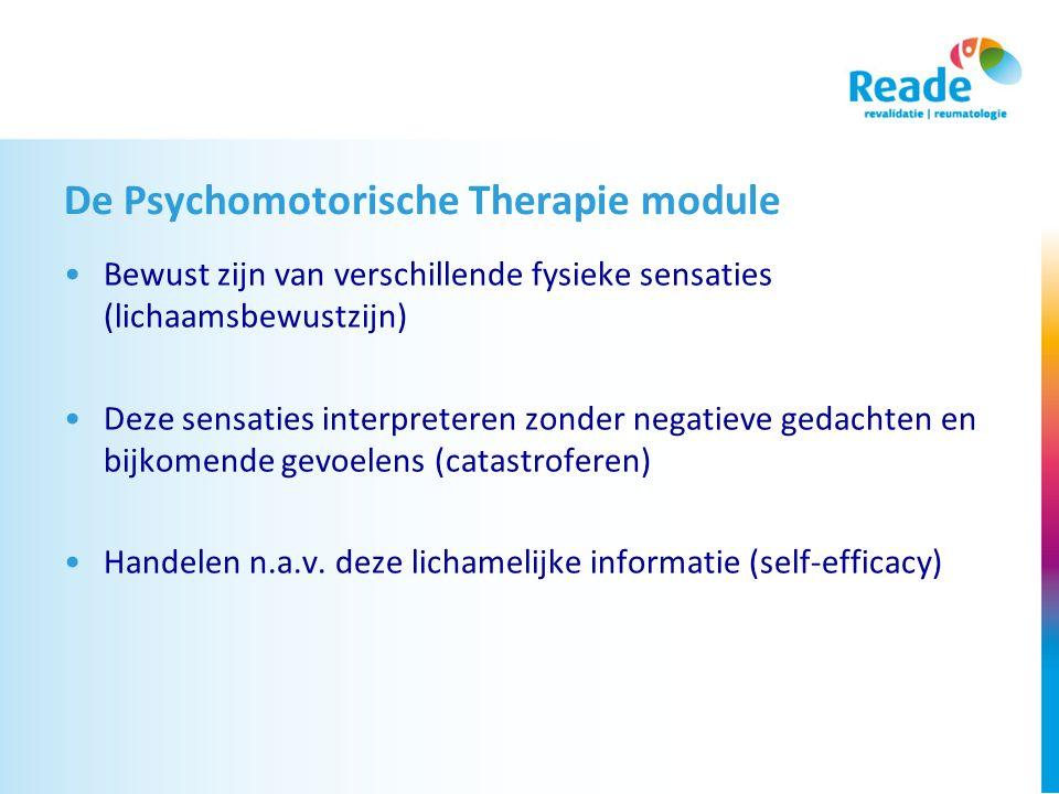 De Psychomotorische Therapie module Bewust zijn van verschillende fysieke sensaties (lichaamsbewustzijn) Deze sensaties interpreteren zonder negatieve gedachten en bijkomende gevoelens (catastroferen) Handelen n.a.v.