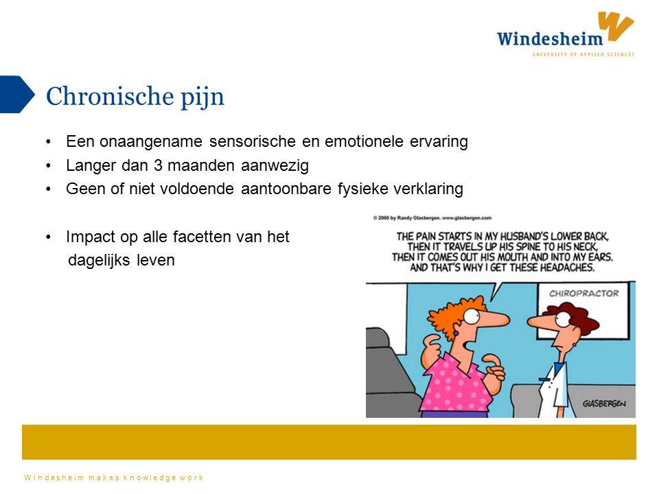 Windesheim makes knowledge work Chronische pijn Een onaangename sensorische en emotionele ervaring Langer dan 3 maanden aanwezig Geen of niet voldoend