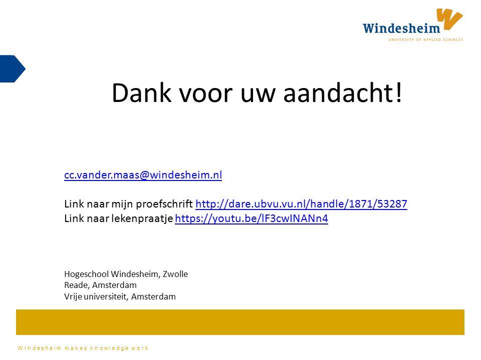 Windesheim makes knowledge work Dank voor uw aandacht! cc.vander.maas@windesheim.nl Link naar mijn proefschrift http://dare.ubvu.vu.nl/handle/1871/532