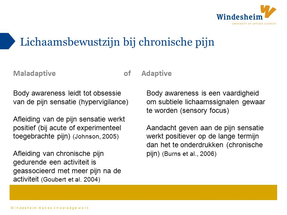 Windesheim makes knowledge work Body awareness leidt tot obsessie van de pijn sensatie (hypervigilance) Afleiding van de pijn sensatie werkt positief (bij acute of experimenteel toegebrachte pijn) (Johnson, 2005) Afleiding van chronische pijn gedurende een activiteit is geassocieerd met meer pijn na de activiteit (Goubert et al.