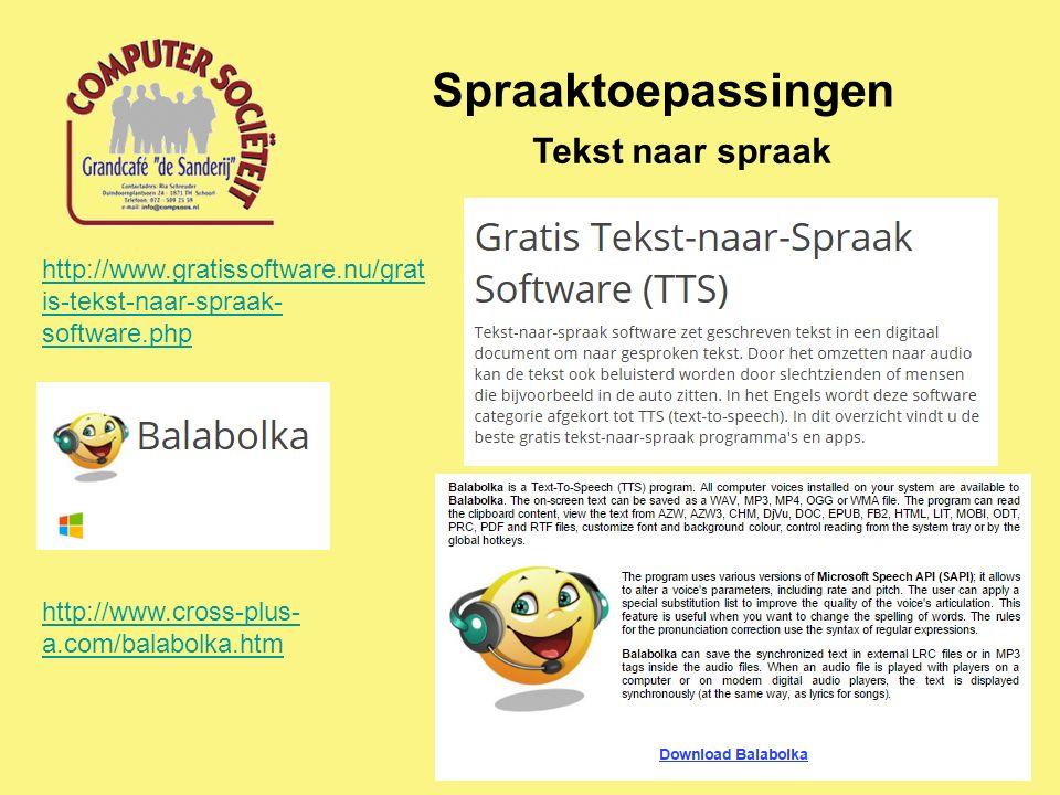 Spraaktoepassingen Tekst naar spraak http://www.gratissoftware.nu/grat is-tekst-naar-spraak- software.php http://www.cross-plus- a.com/balabolka.htm