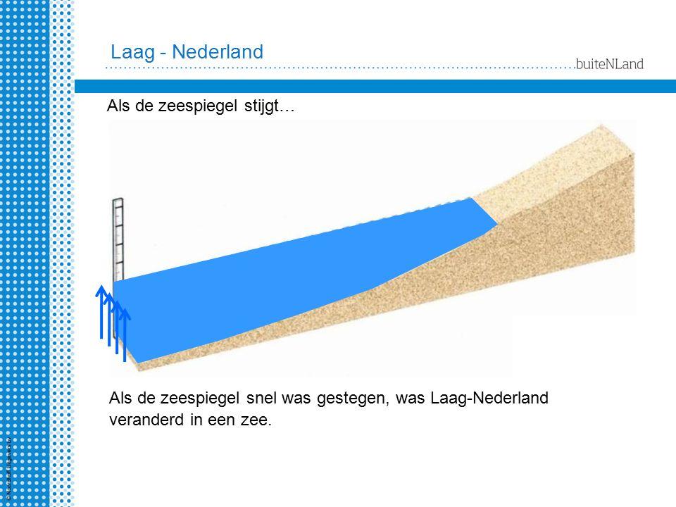 Als de zeespiegel snel was gestegen, was Laag-Nederland veranderd in een zee. Laag - Nederland Als de zeespiegel stijgt…